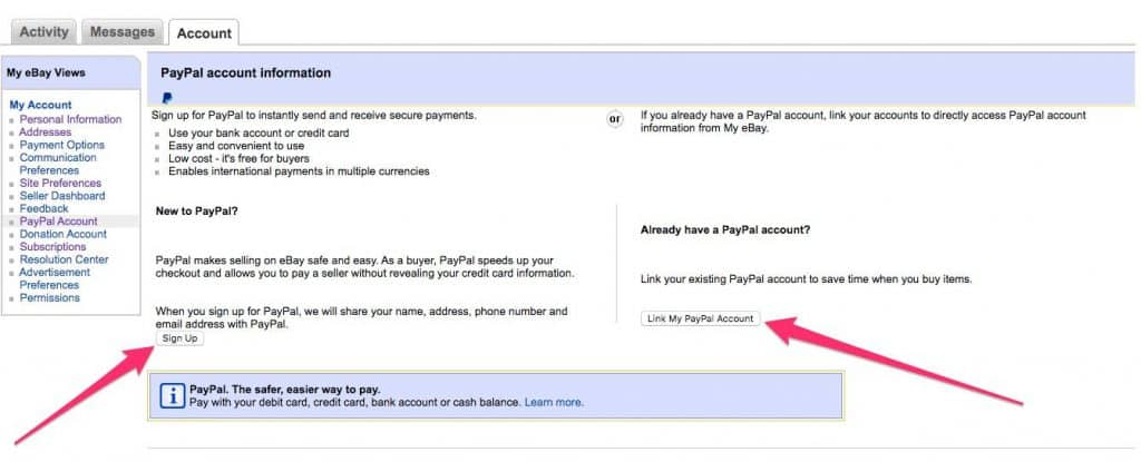 Linking your eBay account to Paypal
